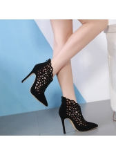Pointed Hollow Out Black Ankle Boots