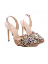 Spring Diamond Pointed Apricot Heel Slingbacks
