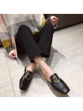 Chic Metal Splicing Mules Slippers