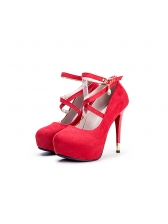 Simple Design Solid Ankle Straps Stiletto Shoes