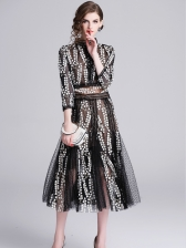 Stand Collar Gauze Embroidered Dress