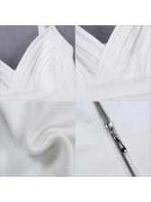 Euro Deep V Neck Solid Bodycon Bandage Dress
