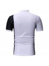 Contrast Color Fitted Short Sleeve Polo Shirt