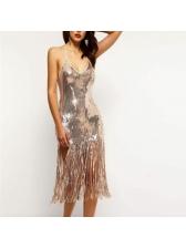Sexy Low-Cut Tassel Sequin Sleeveless Dress
