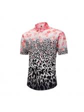 Leopard Print Floral Short Sleeve Mens Shirt