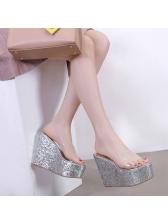 Stylish PVC Platform Wedges Slippers
