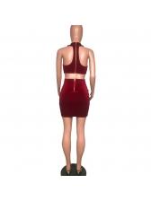 Sexy Velvet Bodycon Halter Mini Dress