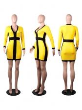 Contrast Color V Neck Bodycon Dress