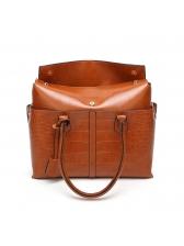 Fashionable Hasp Solid Crocodile Pattern Handbags