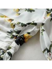 Crew Neck Floral Tie-Wrap Short Sleeve Dress
