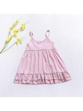 Casual Ruffle Sleeveless Girls Blush Dresses