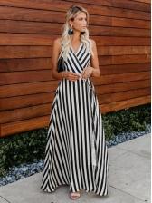 V Neck Sleeveless Striped Maxi Dress For Women