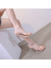 Spring PVC Chunky Heel Woman Clear Sandals