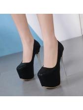 Korean Design Solid Round Toe Platform Stilettos