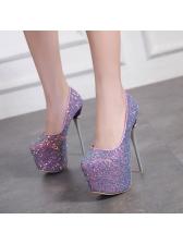 Fashionable Sequined Thick Platform Stilettos