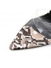 Minimalist Snake Printed Black Heel Ankle Strap Sandals