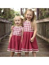 Plaid Lace Detail Girls Dresses