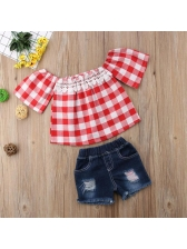 Chic Plaid Off Shoulder Baby Girls Outfits