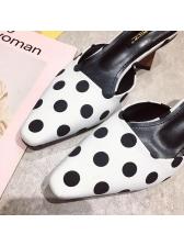 Spring Polka Dots Chunky Heeled Slippers