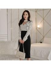 Elegant Striped Patchwork Ruffle Bodycon Dress