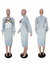 Euro Printed Beading Long Sleeve Dresses