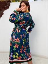 Plus Size V Neck Floral Dresses