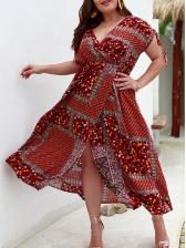 Printed V Neck Boho Maxi Dress