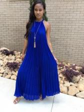 Off Shoulder Large Hem Pleated Maxi Dress