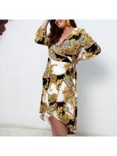 Printed V Neck Plus Size Dresses