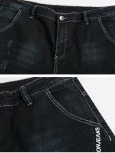 Fashion Scratched Straight Denim Jeans
