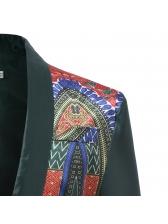 Ethnic Printed Lapel One Button Men Blazers