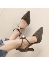 Minimalist Pointed Suede Pearl Chunky Heels