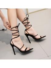 Minimalist PVC Lace Up Thin Heel Sandals
