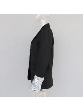 Euro Sequin Patchwork Black Blazer For Women