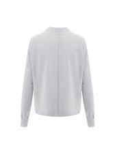 Casual Lapel Collar Long Sleeve Loose Blouse
