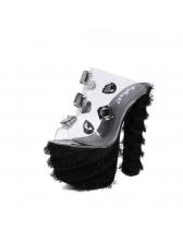 New Arrival Rhinestone Fur Platform Chunky Slippers