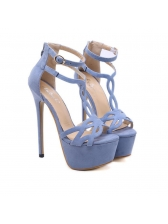 Chic Hollow Out Ankle Strap Thin Heel Sandals