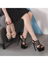 Sexy Hollow Out Stiletto Heel Platform Sandals