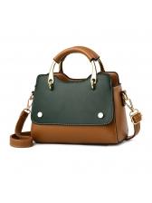 Metal Handle Contrast Color Shoulder Bag For Women
