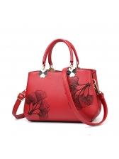 Large Capacity Round Handle Leaves Printed Handbag