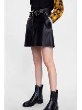 Chic Rivet Pockets Black Pu Skirt