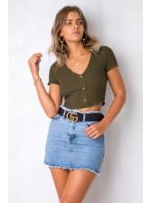 Minimalist V-Neck Button Crop Woman T-Shirt
