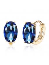 Simple Design Ellipse Diamond Earrings
