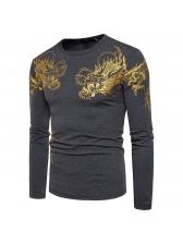 Masculine Dragon Print Long Sleeve Tee