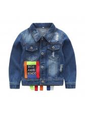 Multicolored Letter Design Single-breasted Coat