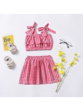 Plaid Binding Bow Cropped Baby Sets