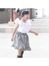 Plaid Irregular Baby Girl Outfits