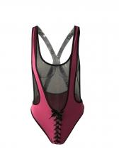 Deep V Neck Gauze Patchwork Backless Swimsuit