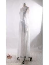 Lace Open Back Floor Length Sheer Wedding Dresses