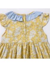 Floral Bow Patchwork Girls Dresses